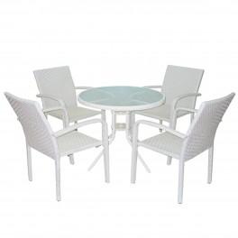 Плетена маса и четири стола от бял ратан