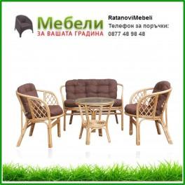 Градински диван две кресла и маса от ратан