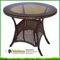 Кръгла градинска маса от бял ратан