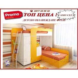 Детско двуетажно легло Фреш с гардеробче