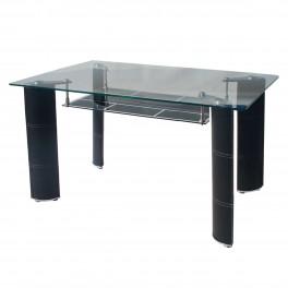Стъклена маса за кухня от прозрачно и черно стъкло